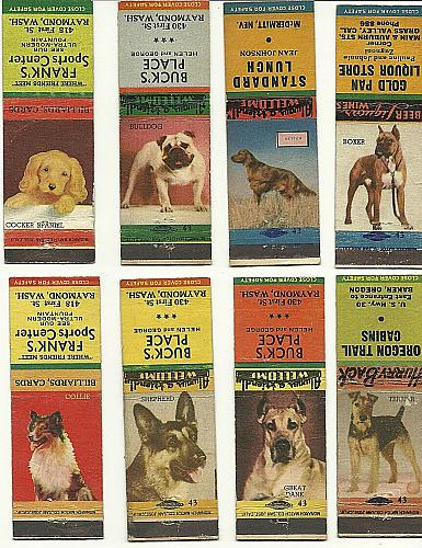 Dog Match Book Covers Bulldog Boxer Collie Dane Terrier Shepherd Setter Spanie
