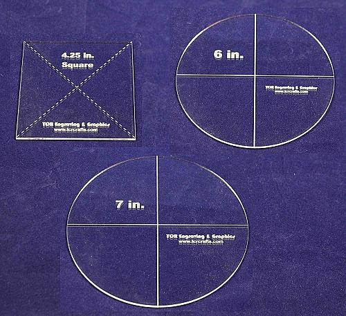 """3 Pc Set- Circle 7"""", Circle 6"""", Square 4.25"""" - Clear 1/8""""- Quilting Templates"""