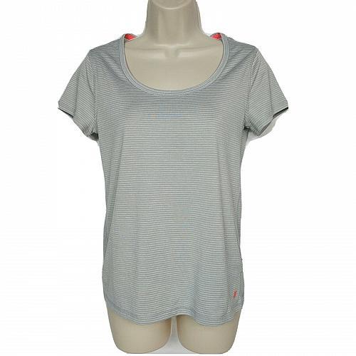 Joe Fresh Womens Athletic Shirt Size Small Gray Striped Scoop Neck