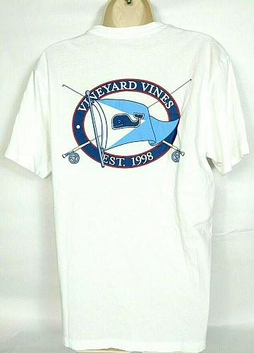 Vineyard Vines Women's Graphic T-Shirt XS Whale Logo Flag Solid White Crew Neck