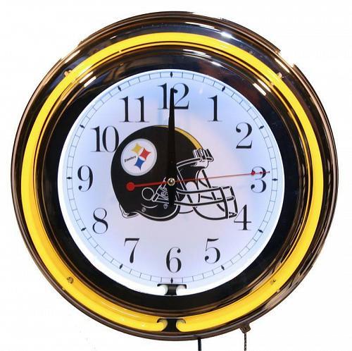 "Steelers 13"" Neon Wall Clock Sweep Movement Pull Chain Garage Man Cave Decor New"