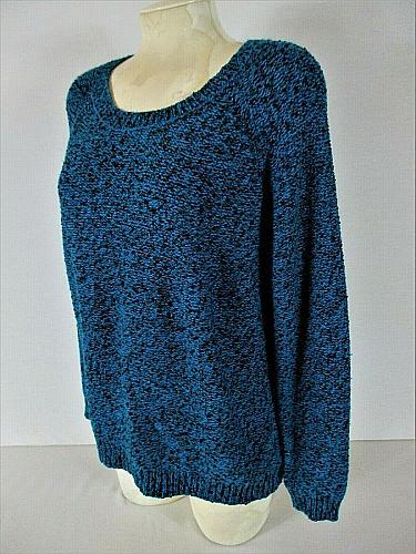 STUDIO WORKS womens XL L/S blue black PULLOVER knit sweater (B7)