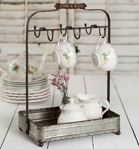 Tabletop Tea Cup Hook Mug Rack Caddy Tray Display Kitchen Diningroom Decor New