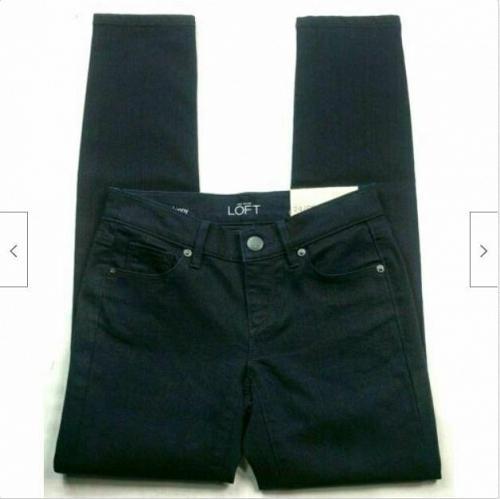 NWT Ann Taylor Loft Womens Modern Skinny Petite Jeans Size 00P Solid Black