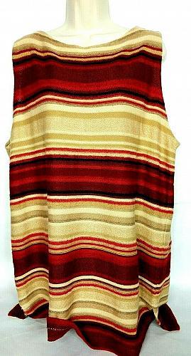 Lauren Ralph Lauren Women's Sleeveless Top Size 3X Beige Red Striped Boat Neck