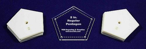 "Mylar 2"" Sides -Regular Pentagon 51 Piece Set - Quilting / Sewing Templates"