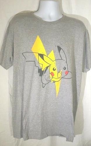 Pokemon Men's T-Shirt 2XL Pikachu Lighting Bolt Gray Graphic Short Sleeve