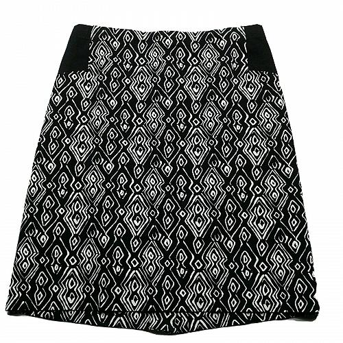 Chicos Womens A Line Skirt Size 0.5 Small Black White Geometric Back Zip