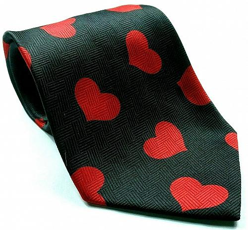 Valentine Red Hearts On Black Love Romance Novelty Necktie