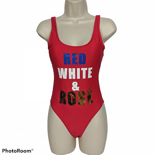 NWT California Waves Metallic Cheeky One Piece Swimsuit XS Red White Rose