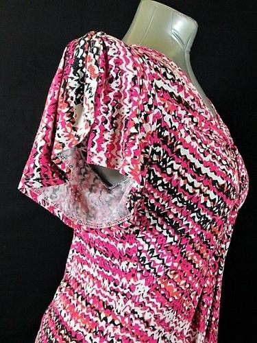FEVER womens Small SLIT BELL SLEEVE PINK BLACK KNOT FRONT STRETCH TOP (M)M