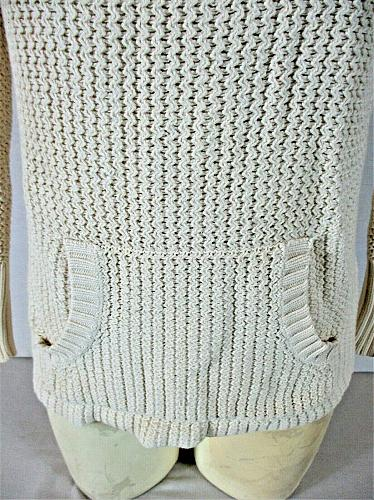 OLD NAVY womens Small L/S ivory CROCHET KNIT 2 pocket turtleneck sweater (B7)