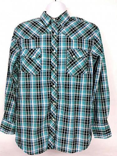Wrangler Men's Western Pearl Snap Shirt Large Plaid Long Sleeve Black Teal