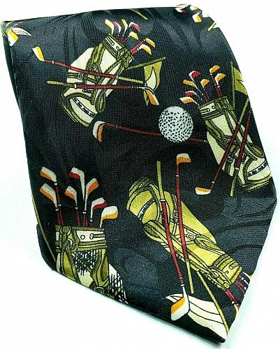 Fratello Golf Balls Bags Clubs All Over Print Sports Novelty Polyester Tie