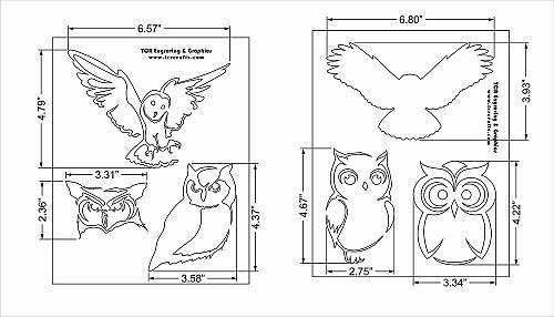 Owl Stencils - 2 Pc Set 8x10 Stencils 14 Mil Mylar