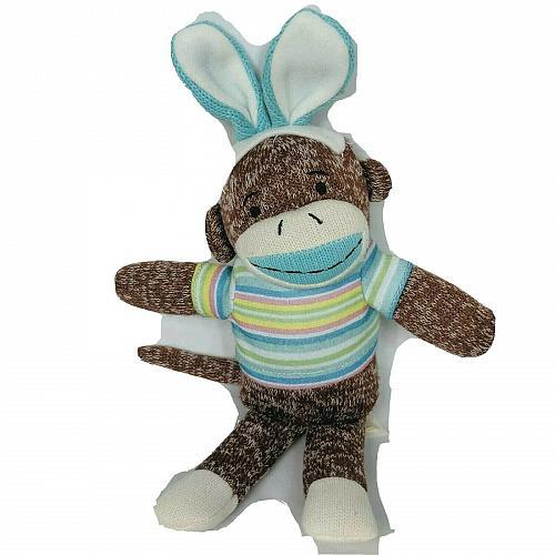 "Dan Dee Collectors Choice Sock Monkey Easter Bunny Rabbit Ears Plush 2016 12"""