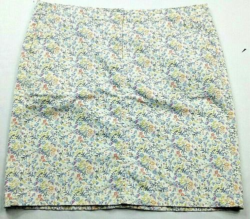 J Jill Womens Live In Chino A Line Floral Skirt Size 12P Pockets Blue Orange