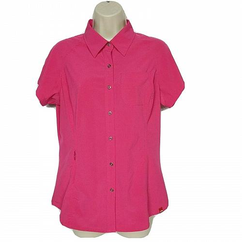 The North Face Womens Performance Button Up Shirt Medium Pink Short Sleeve