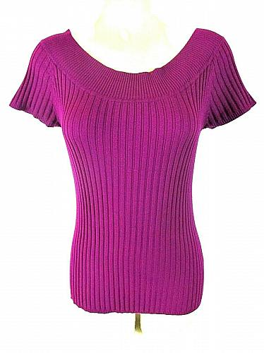 Its Our Time womens XL S/S purple KEYHOLE neck ribbed knit sweater (G)