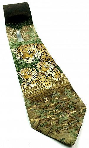 Endangered Species Jaguar Jungle Animal Cat Nature Waterfall Novelty Silk Tie