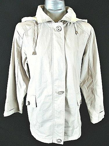 MACKINTOSH womens Small L/S beige FULL ZIP 2 pocket HOODED lined jacket (B3)P