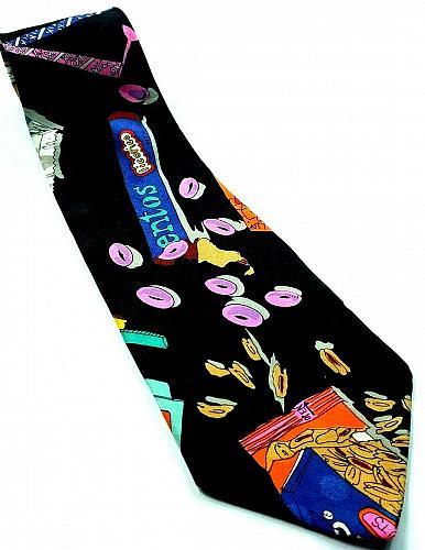 Vtg 90s Nicole Miller Candy Junk Food Mentos Pixy Stix Novelty 100% Silk Tie