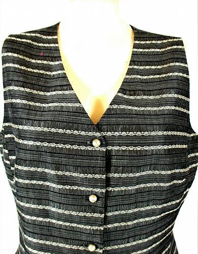 KASPER womens Sz 12 gray black white RAYON blend button down lined vest (A8)P