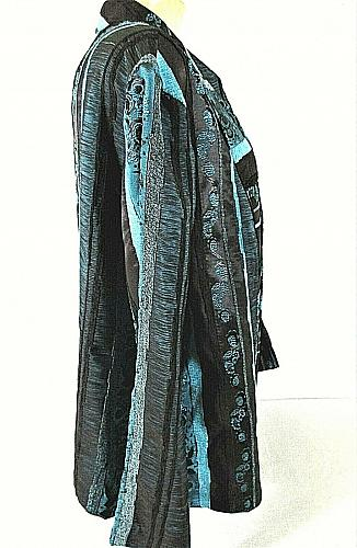 PICADILLY FASHIONS womens 2X L/S blue black TEXTURED open front jacket (C3)