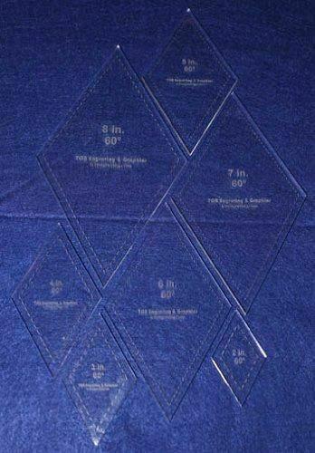 "Diamond Templates 2"", 3"", 4"" 5"", 6"", 7"", 8"" - Clear ~1/4"" 60 Degree"