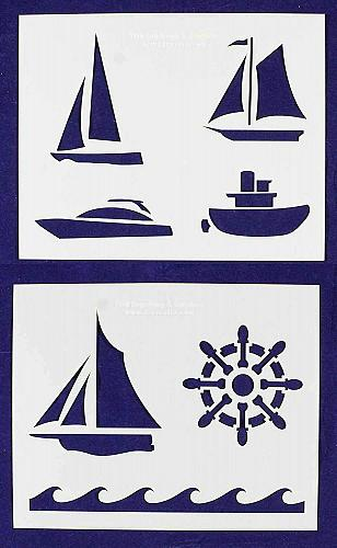 """Boat Stencils Mylar 2 Pieces of 14 Mil 8"""" X 10"""" - Painting /Crafts/ Templates"""