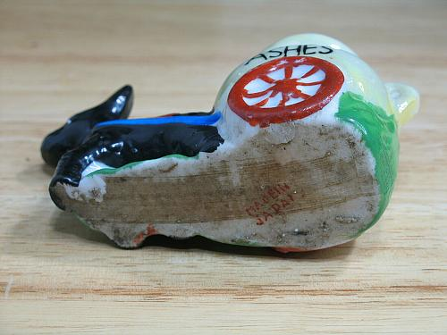 Vintage Porcelain Donkey Ashes Cart Figural Ashtray Snuffer Japan LUSTREWARE
