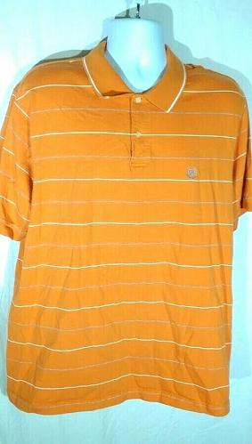 Chaps Men's Polo Shirt Size XXL Orange Striped Short Sleeve
