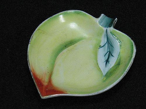 Porcelain Peach Figural Ashtray Snuffer Japan Fruit Plum Vintage