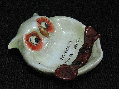 Vintage Porcelain Ashtray Owl Otawa Canada Souveneir Figural Snuffer Japan