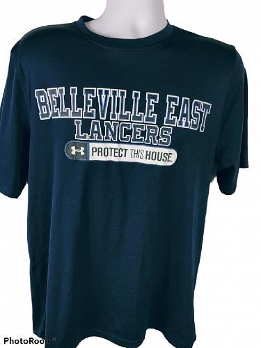 Belleville East Lancers Men's T-Shirt Size Large Loose Heat Gear Blue