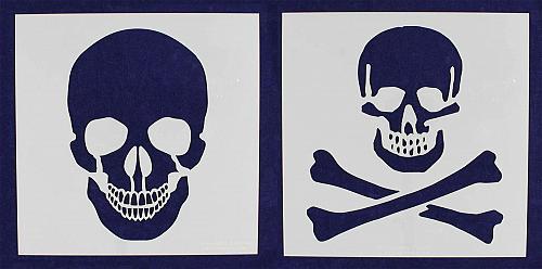 "2 Piece Large Skull & Bones Stencils- 16"" x 16"" Painting/Crafts -Mylar 14 Mil"