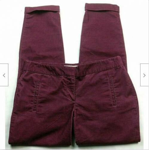 Ann Taylor Loft Womens Zoe Corduroy Skinny Pants Size 2 Solid Red Cuffed