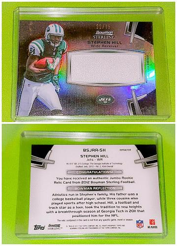 Nfl Stephon Hill Jets 2012 Bowman Sterling jumbo game-worn Jersey Sp75 Mint