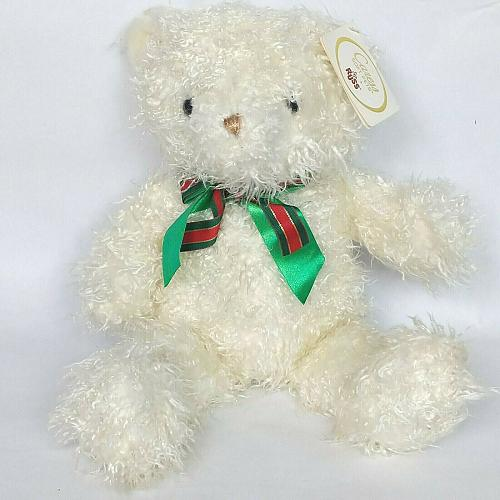 "NWT Russ White Christmas Bear with Bow Caress Soft Pets Plush 17"""