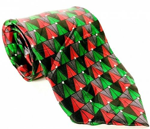 Holidays Men's Dress Necktie 100% Silk Green Red Christmas Trees Holiday Novelty