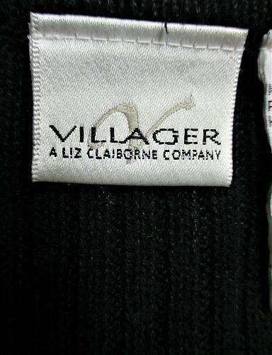 VILLAGER womens Medium sleeveless black white FULL ZIP sweater vest (C2)