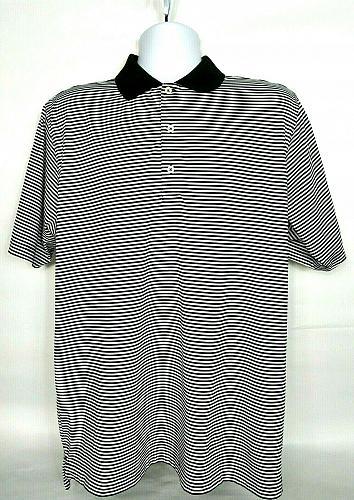 F & G Tech Men's Golf Polo Size Large Black White Striped Greenbriar Hills CC