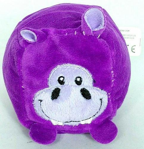 "Kellytoy Hippopotamus Purple Blocky Plush Stuffed Animal 4.5"""