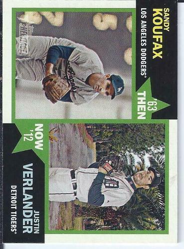 Justin Verlander / Sandy Koufax 2012 Topps Heritage Then & Now