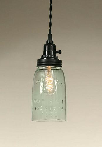 Quart Mason Jar Hanging Pendant Lamp Ceiling Rustic Lighting Vintage Farmhouse