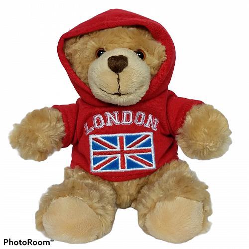 "Keel Toys Ltd London Flag Hoodie Brown Teddy Bear Plush Stuffed Animal 7"""