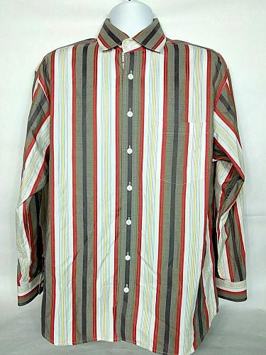 Bugatchi Uomo Mens Button Up Shirt Large Striped Red White Gray Long Sleeve