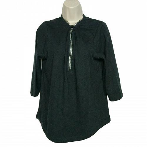 Quacker Factory Womens Rhinestone Zippered Top Size Medium V Neck Black