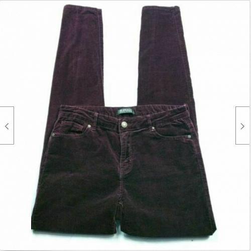 Buffalo David Bitton Womens Mirage Velvet Skinny Pants Small Red Stretch