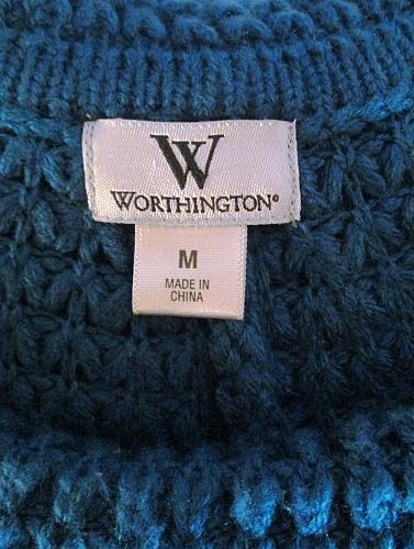 WORTHINGTON womens Medium S/S TEAL SHAWL NECK SWEATER (C)
